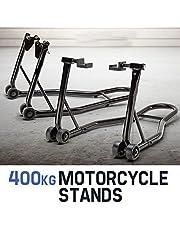 Moto caballete Juego de soporte para moto, horquilla delantera y rueda trasera
