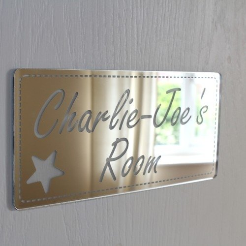 Laserables Plaque de miroir rectangle pour portes, style shabby chic, personnalisable