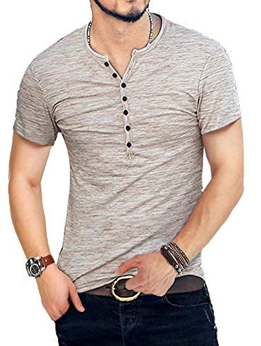 KUYIGKUYIGO Men's Henley Shirts Short Sleeve Slim Fit Summer Shirts (Medium, 01 Khaki)