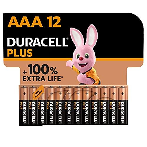 Duracell - NUOVO Plus AAA, Batterie Ministilo Alcaline, Confezione da 12, 1.5 volt LR03 MN2400