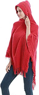 oboss Ladies Knitted Tassels Hooded Cape Shawl with Fringed Hem, Crochet Poncho Shawl Wrap Scarf Knitting Patterns for Women