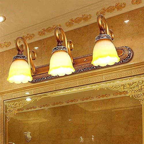 ZHUYUE zeer goede badkamerspiegel licht 3-light Vanity spiegellichten hoofddecoratie wandlamp Vanity verlichting voor badkamer kaptafel met LED-lamp (kleur: messing, grootte: 50x22x22cm)