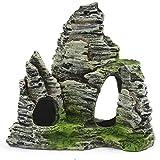 bansd SR1004 Simulación de Acuario Vista de la montaña Adorno de Piedra Resina Decoración de Acuario Gris 11.5 * 6 * 11cm