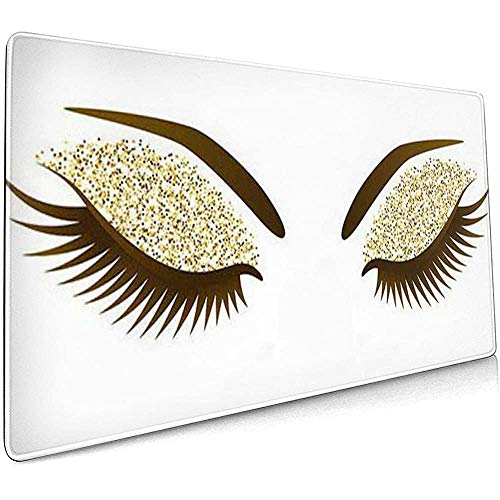 Weled Computer Keyboard Gaming Mouse Pad - Wimpern Frau Auge mit Langen Wimpern Make-up Golden...