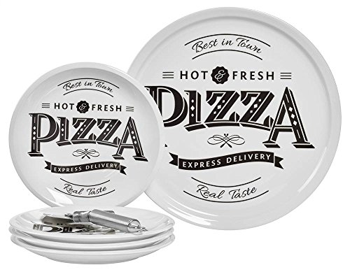 Best in Town Pizza 6 Piece Porcelain Platter Set