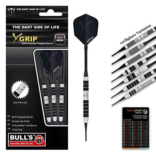 trendsportprofi Bull's X-Grip X2 Soft Dart, 16g, hochwertiges Set mit 3 Dartpfeilen, 90% Tungsten, Perfekter Grip, Bull's Cone Case, Checkout Table