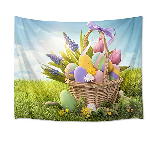 HVEST Easter Eggs Tapestry Wall Hanging Happy Easter Backdrop for Photography Colorful Eggs and Flowers in Basket Wall Tapestry Spring Tapestry for Bedroom Living Room Dorm Decor, 60Wx40H inches