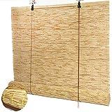Estores de Bambú Cortina de Caña Persiana Enrollable,Cortina de Paja Sombreado Retro,Tejidas a Mano,Estor Enrollable para Ventana,Interiores,Exteriores,Opacas,Personalizables (140x300cm/55x118in)