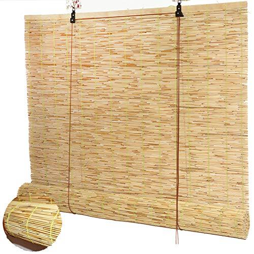 Schilf Vorhang Bambusrollo Raffrollo Natürliche Reed Jalousette Bambus Blind Römische Schatten Rollvorhang Sonnenschutz und Sichtschutz Rollo,für Fenster und Türen,Winddicht (140x180cm/55x71in)
