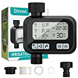 Water Hose Timer, Diivoo Automatic Sprinkler Timer with Rain Delay for Standard Outdoor Garden Faucet, Drip Irrigation Timer with Auto and Manual Watering for Lawn, Patio, IP55 Waterproof