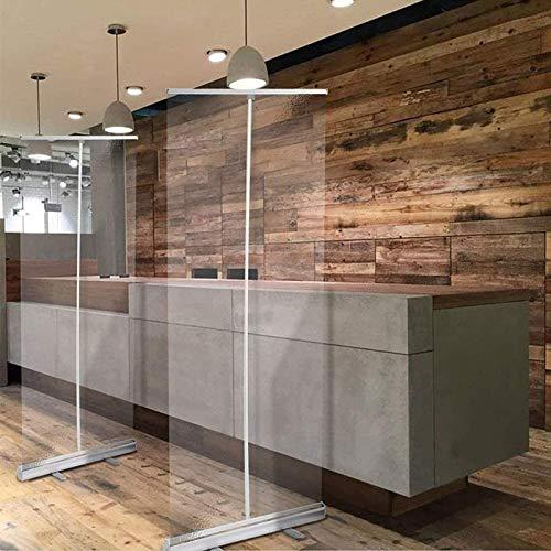 HYDT Store en bambou Boden Stehender Nieschutz Klarer Bildschirm mit Breiter Basis, Pop Up Roller Banner Steht Isolation Barrie, Länge 160/180/200 cm (Size : 80×200cm/31.4×78.7in)
