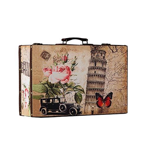 Liergou Maleta Vintage Maleta de Cuero del Viaje del Vintage Maleta for decoración de los Partidos de la Boda Muestra Crafts (Color : Brown, Size : 40×25×10cm)