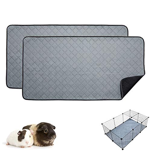 RIOUSSI Guinea Pig Fleece Cage Liners, Highly AbsorbentWashable Guinea Pig Bedding for Midwest and C&C Guinea Pig Cages with Leak-Proof Bottom.CC 2X3, Light Gray, 2 Pack.