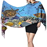 Bufanda Colorida Arrecife de coral Tortuga marina Envoltura de pescado Bufanda Invierno cálido Cachemira Chal Bufanda Pañuelo portátil Cómodo Mujeres Bufanda de cuello