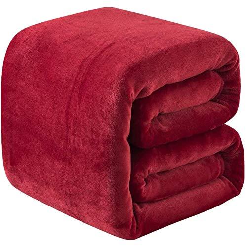 Plaid Couverture Polaire Epaisse 220x240cm Microfibre Polyester Doux et Chaud Couvre-Lit Sofa Jete de Canape Effet Velours Facile a Nettoyer - Rouge