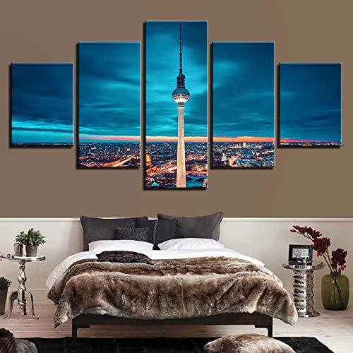 SWMLDM 5 Piezas Lienzos Cuadros Pinturas Torre De Televisión Con Vistas A La Ciudad Modernos Modular Impresión Hd Póster Imagen Artística Para Salón Niños Habitación Dormitorio Oficina Hogar Decoració