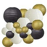 DaysAgo - Farolillos decorativos para fiestas, 20 unidades, color dorado, blanco, negro, redondo, japonés/chino, para decoración al aire libre