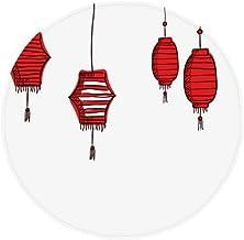 DIYthinker Red Lanterns Chinese Year of Rooster Anti-Slip Floor Pet Mat Round Bathroom Living Room Kitchen Door 80Cm Gift