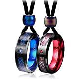 Aienid Couple Necklace for Women Men Tungsten Rings 8MM Pendant Set AAA Crystal Black Rope