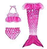 Yimidear Coda da Sirena Bambina Costumi Bambina Costume Bagno Sirena 3Pcs Set di Bikini Mermaid Costume Sirena Vestito da Sirena per Bambina(110, Rosa)