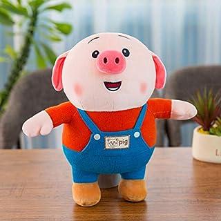 駅の版豚の小さい屁の公の子のぼうっとしている萌の背のズボンの子豚のおじけづく绒のおもちゃの祝日の赠り物の人形 (オレンジ, 25cm)