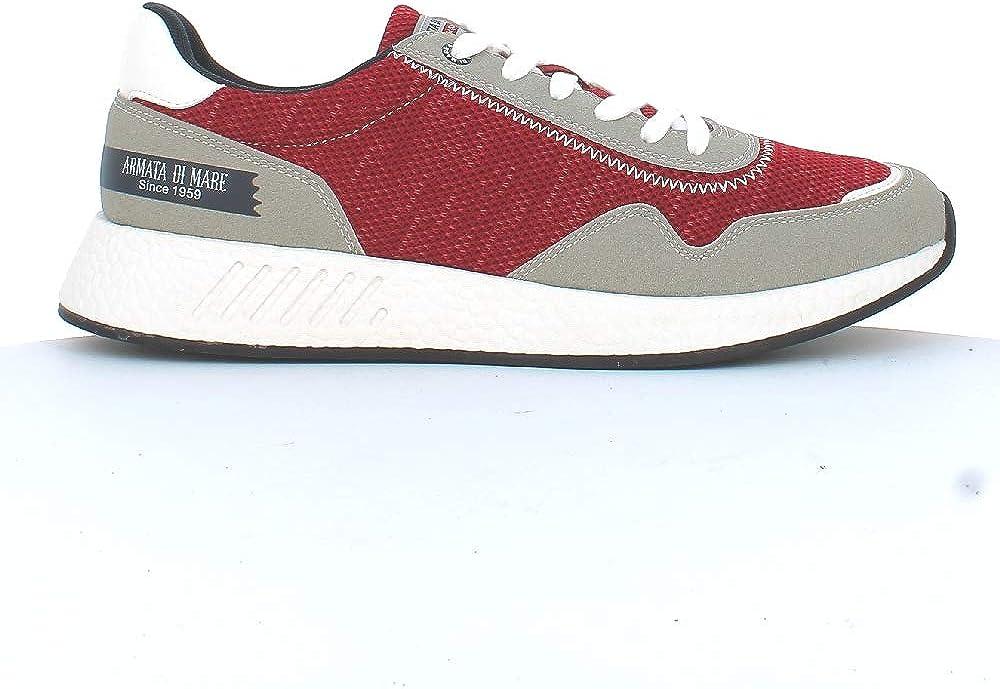 Armata di mare,  scarpe per uomo, sneakers basse, in pelle sintetica e tela, ROSSE AMU P2L021
