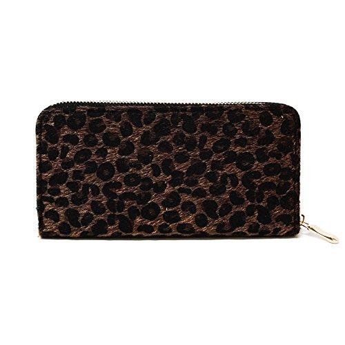 Me Plus Damen-Portemonnaie aus Kunstfell, Tierdruck, Leopardenmuster, Reißverschluss, Kartenfächer - - Einheitsgröße