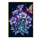 Pintura de Diamantes 5D DIY por Números Fácil de Diamantes de Imitación para Niños kit Cuadros por Numeros Diseño de Flores Moradas Cristales para Manualidades para Decoración del Hogar 30 x 40 cm
