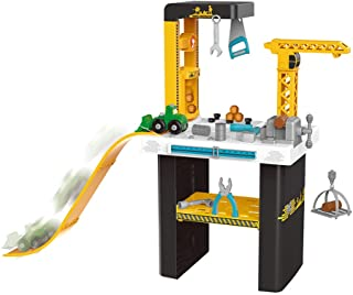 Tool Workshop Kids Tool Set Workbench and Construction Toy with Slide Real- 54 Piece