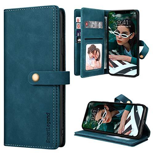 SmartLegend para Funda iPhone 11 con 10 Tarjetero Funda iPhone 11 con Tapa Fundas Libro de Cuero PU Premium Magnético Suporte Silicona Carcasa iPhone 11 (6.1'') - Azul-Verde