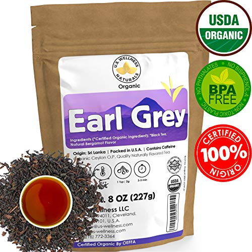Earl Grey Tea, FLORAL & CITRUSY, Natural Bergamot Flavor Blended with ORGANIC Loose Leaf Tea, 110+ Cups, 8oz, ORGANIC CEYLON, OP Grade Tea, U.S.A Processed & Quality Control
