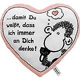 """Sheepworld 42693 Plüsch-Kissen in Herz-Form """"… damit Du weißt, dass ich immer an dich denke!"""", 30 cm x 27 cm, Geschenk-Artikel"""
