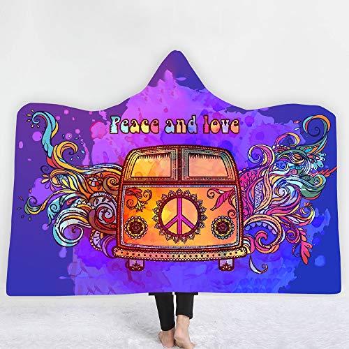 ACC Bus print met capuchon deken, voor volwassenen en kinderen, super zacht met capuchon, geschikt voor op reis, slaapkamer