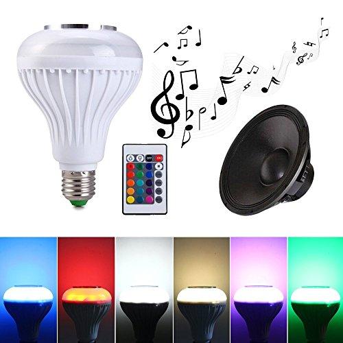 Ampoule de haut-parleur Bluetooth,ALFALED Ampoule LED E27 12W Changement de couleur Ampoule de musique Audio mini enceinte Lampe intelligente Contrôlée par Télécommande pour Salon,Chambre, Fête