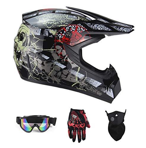 Motocross Casque VTT Casque De Moto SUV Casque + Lunettes + Gants De Moto BMX MX Ski Cross...