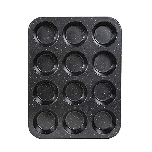 Cook with Color Bakeware Non Stick Cup Cake Pan, Speckled 12 Cup Muffin Tin, Baking Mold (Black)