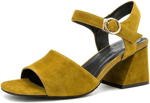 DHG Sandales Douces d'été, Pantoufles à la Mode des Femmes, Sandales Plates Occasionnels, Sandales à Bout Pointu à Talons Plats, Talons Hauts,Vert,37