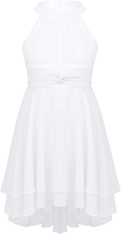 YiZYiF Big Girls Kids Halter Neck Chiffon High Low Flower Wedding Bridesmaid Dance Ball Gown Princess Party Dress