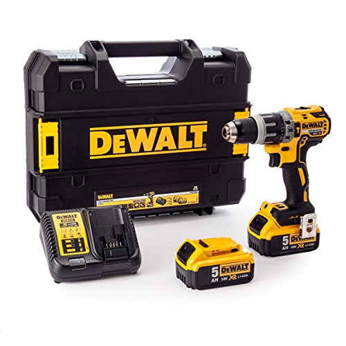 Dewalt DCD796P2-GB DCD796P2 Combi Drill 18V XR Brushless Compact Lithium-Ion (2 x 5.0Ah Batteries), 18 V, Yellow/Black, One size