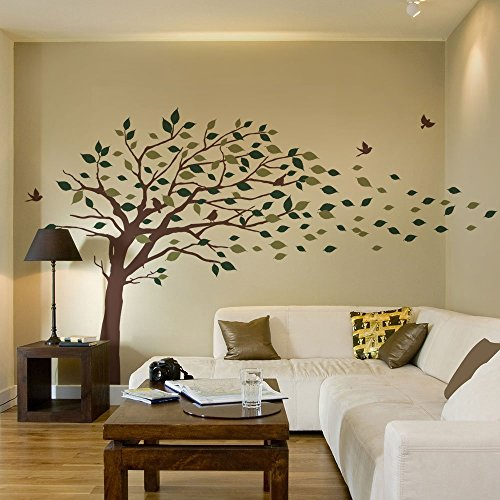 Simple Shapes Blowing Leaves Tree Wall Decals - Scheme A