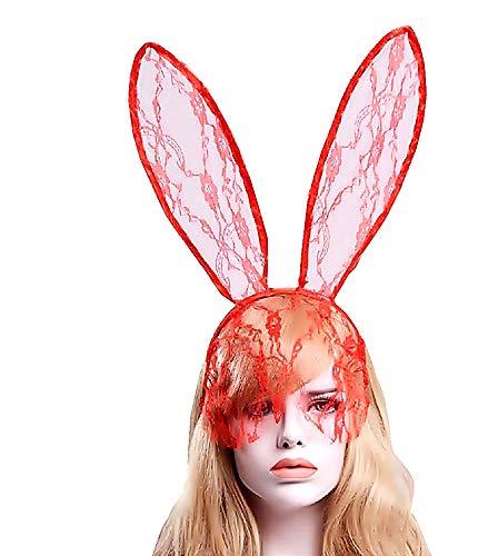 KIRALOVE Rosso - Cerchietto per Capelli - Orecchie Coniglio - con Velina - Pizzo - Travestimenti Donna - Halloween - Carnevale - Sexy - Idea Regalo Originale