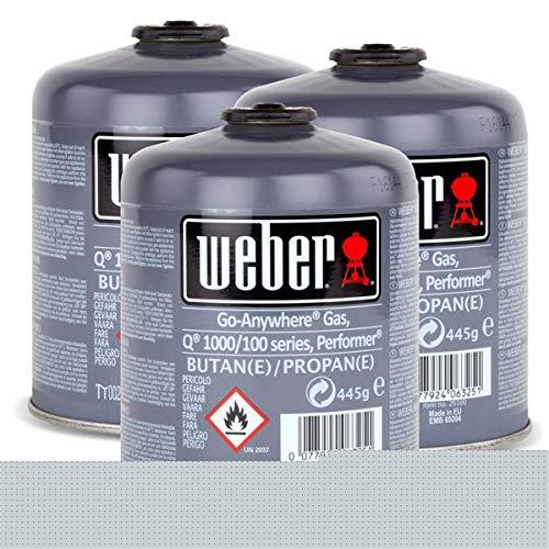 Weber - 3 bombole di butano/propano per serie Q 100 e Performer Touch-N-Go