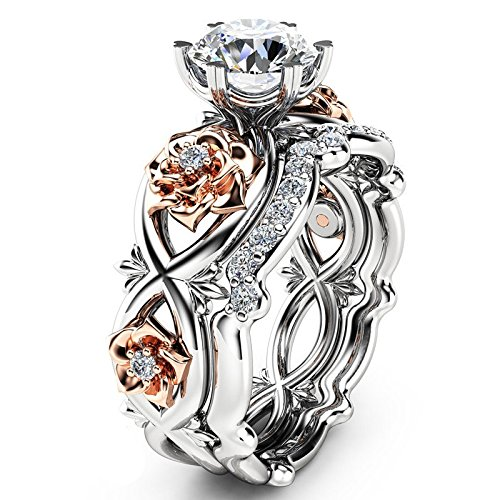 Ladies Diamond Ring, Ladies Silver and Rose Gold Filled White Wedding Engagement Flower Ring Anniversary Gift for Boyfriend and Girlfriend