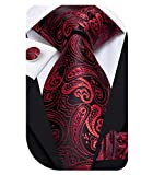 Dubulle Mens Paisely Red and Black Tie Pocket Square Woven Silk Necktie Set with Cufflinks for Wedding