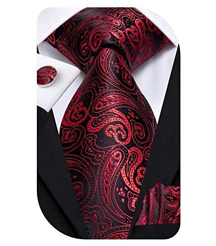 Dubulle メンズ ペイズリーシルクネクタイ ネクタイとポケットチーフセット US サイズ: Medium カラー: レッド