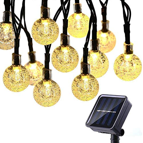 Toodour Solar String Lights Outdoor 50 LED 29.5ft Solar Patio Lights with 8 Modes, Waterproof Crystal Ball String Lights for Patio, Lawn, Fence, Party, Wedding, Garden Decorations (Warm White)
