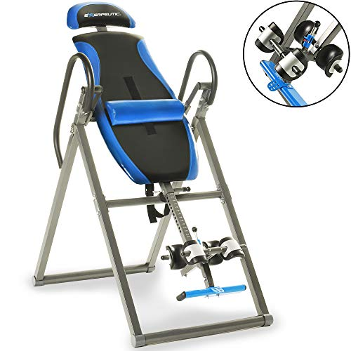 EXERPEUTIC 150L Triple Safety Locking Inversion Table with Secondary Auto Safety Lock, Visual Lock Indicator and Lumbar Pillow