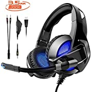 Gaming Headset für PS4/XBox One,Amicool Stereo Bass Surround/Noise Reduction/Volume Control/Over-Ear Gaming kopfhörer mit mikrofon für Laptop PC Mac Computer and Smartphone