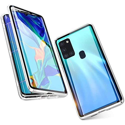 Hülle für Samsung Galaxy A21s, Magnetische Adsorption Handyhülle 360 Grad Schutz Aluminiumrahmen mit Gehärtetes Glas, Starke Magneten Stoßfest Metall Flip Case Cover - Silber