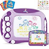 CHUCHIK Magnetic Drawing Board for Kids and Toddlers. Large 15.7 Inch Doodle Writing Pad Comes with a 4-Color Travel Size Doodle Sketch Board for 3, 4, 5 Years Old Girls (Purple)